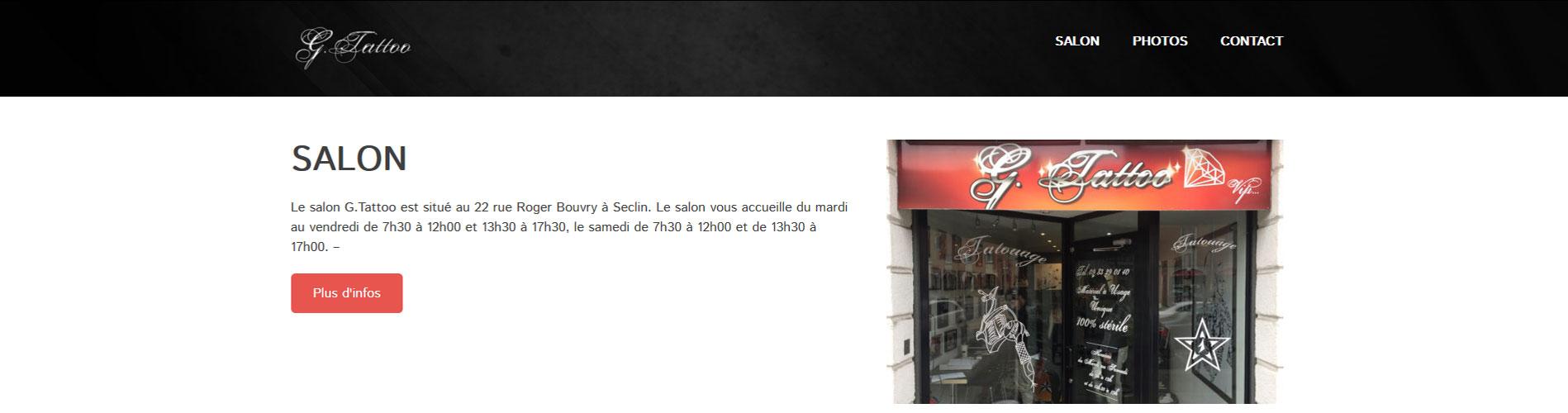 Site du salon G.Tattoo à Seclin